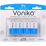 VONIKO Ultra Alkaline 9V Batteries - 7 Year Shelf Life & 6-9 Times The Power As Carbon Batteries | 9 Volt Battery - 9 V Batte