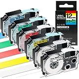 互換 ネームランド テープ カートリッジ 12mm カシオ 透明 Casio Name Land XR-12X XR-12WE XR-12RD XR-12BU XR-12YW XR-12GN 黒文字 白赤黄青緑 強粘着 6色の1セット ASprint
