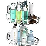 SMARTAKE 2 Tiers Shower Caddy, Rustproof Bathroom Shelf with Removable Adhesive, Wall Mounted Corner Storage Organizer Shampo