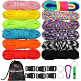 WEREWOLVES Paracord 550/350 lb Type III - Survival Paracord Combo Crafting Kits Survival Rope Making lanyards,Keychain,Carabi