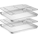 Baking Sheet with Rack Set [2 Pans + 2 Racks], Wildone Stainless Steel Cookie Sheet Baking Pan Tray with Cooling Rack, Size 1