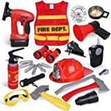 FunLittleToy 23 Pieces Fireman Toys for Kids, Fire Fighter Costume Pretend Play Dress-up Toy Set