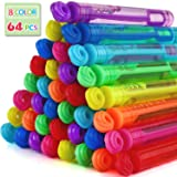 Laxdacee Bubble Wands Party Favors Pack of 64, Mini Neon Bubble Wands | Odor-Free Non-Toxic Kids' Bath Toy/Birthday Treats Bu