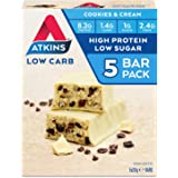 Atkins Cookies and Cream Bars | Keto Friendly Bars | 5 x 30g Low Carb Cream Bars | Low carb, Low Sugar, High Protein, High Fi