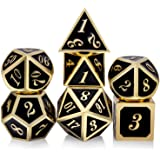 Metal Dice Set DND, 7 die Metal Polyhedral Dice Set with Metal Box Black Color and Gold Number for Role Playing Game Dungeons