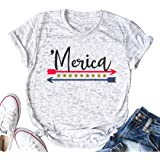 DUDUVIE America USA Flag Shirts Women Merica Arrow Stars and Stripes Vintage Style tee top Blouse Casual