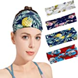 Isobel Wide Women Headband Bandana Headwrap, 4 Pack Yoga Running Sports Workout Headbands Elastic Turban Head Wrap Boho Hair