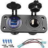 Quick Charge 3.0 Cigarette Lighter Outlet Splitter, 12V USB Charger Waterproof Power Socket Adapter DIY Kit with Blue LED Dua