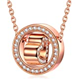 QIANSE Christmas Necklaces Gifts Before Sunset Rose Gold Version Women Girls Pendant Necklaces with Crystals from Swarovski H
