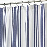 """mDesign Large Fabric Shower Curtain with Reinforced Buttonholes for Bathroom Showers and Bathtubs - 72"""" x 72"""" - Cobalt Blue/W"""