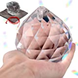 Lulonpon 60mm/2.36Inch Clear Crystal Prisms Suncatcher,Hanging Prisms Ball Rainbow Glass Sphere,Faceted Gazing Ball for Windo