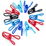 Swpeet 50 Pieces Multi-Purpose Metal Wire Clip Windproof Clothespin Metal Clips Holders for Office Clothes Baby Diaper Metal
