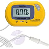 SunGrow LCD Digital Betta Thermometer, Yellow, Accurately Reads Tank Water Temperature, Maintains Betta's Real Habitat, Easy