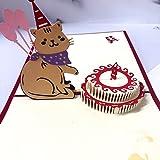 飛び出すカード グリーティングカード 誕生日 バースデーカード 猫 メッセージカード 猫 誕生日カード 猫可愛い手紙 プレゼント 封筒付き (Cat)