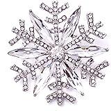 Lanxy Winter Snowflake Clear Austrian Crystal Brooch Pin for Women