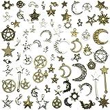 Celestial Mixed Sun Moon Star Charms, JIALEEY Wholesale Bulk Lots Antique Alloy Charms Pendants DIY for Necklace Bracelet Jew