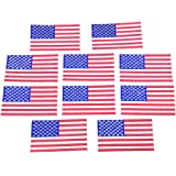 10pcs USA Flag Patches Iron On Embroidered American US United States Flag Clothing Patch Appliques Badge Sticker 1.77x3.15 In