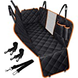 Dog Seat Cover Waterproof Pet Car Seat Cover with View Mesh & Side Flaps & Dog Seat Belt, Non-Slip Backing Dog Back Seat Hamm