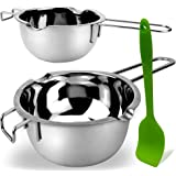 2 Pack Stainless Steel Double Boiler Melting Pot with Silicone Spatula for Butter for Chocolate Candy Butter Cheese Caramel C