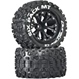"""Duratrax Six Pack MT 2.8"""" 1/10 RC Monster Truck Tires with Foam Inserts: C2 Soft, Mounted, 6-Spoke Front/Rear Wheels, Black,"""