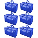 TICONN 6 Pack Extra Large Moving Bags with Zippers & Carrying Handles, Heavy-Duty Storage Tote for Space Saving Moving (Blue)