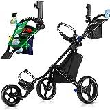 JANUS Golf Push Cart, Golf cart for Golf Clubs, Golf Pull cart for Golf Bag, Golf Push carts 3 Wheel Folding, Golf Accessorie