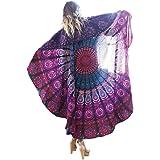 Bigood Round Peacock Floral Chiffon Wrap Cover Up Beachwear Summer Scarf
