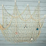 Bilipala Rustic Nautical Decorative Fishing Net Wall Hangings Decor with Stars Lifebuoy and Anchor Ornaments Creamy White