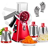 Cheese Grater 3 in 1 Veggie Chopper Rotary Drum Grater with 3 Stainless Steel Drums Vegetable Slicer Cheese Cutter for Kitche
