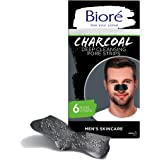 Bioré Men's Charcoal, Deep Cleansing Pore Strips, 6 Nose Strips for Blackhead Removal on Oily Skin, with Instant Blackhead Re