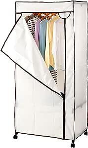 ドウシシャ ハンガーラック ポリエステルカバー付き ワードローブ キャスター付 アイボリー 幅77×奥行50×高さ170cm HRC-7750 HRC-7750