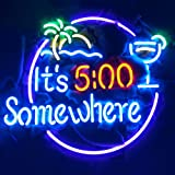 """It's 5:00 Somewhere Real Glass Neon Light Sign Home Beer Bar Pub Recreation Room Game Room Windows Garage Wall Sign (17""""×14"""""""