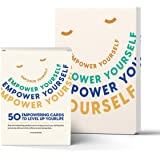 Empower Yourself – 50 Mindfulness Question Cards and a Guided Daily Journal - for Therapy Card Games, Journaling, Self Help,