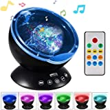 K KBAYBO Ocean Wave Projector 12 LED &7 Colors Night Light Projector with Built-in Mini Music Player Remote Control for Livin