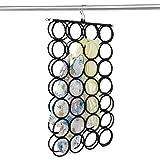 DOIOWN Scarf Hangers Ties Organizer Hangers Racks Space Saving Hangers Closet Organizer (Black)