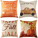 Anickal Set of 4 Fall Pillow Covers Autumn Theme Farmhouse Decorative Throw Pillow Covers 18 x 18 Inch Thanksgiving Home Deco