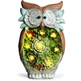 GROWNEER 10 Inches Solar Powered Garden Statue Resin Lawn Ornaments Indoor Outdoor Owl Sculpture for Holiday Gift, Home Décor