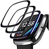 【3枚】QULLOO Fitbit Sense/Fitbit Versa3 フィルム 3D全面保護 弧状のエッジ加工 薄型 傷修復性 保護フィルム 高透過率 反射防止 PET複合材 指紋気泡防止 高感度タッチ Fitbit Sense/Fitbit