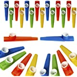 Kicko Plastic Kazoo – 24 Pack Assorted Colors Noisemakers - Two Dozen Musical Instruments - for Birthday gift, Party Favor Ba