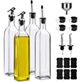17oz 500ml Glass Olive Oil Dispenser Bottles, Kitchen Cooking Oil and Vinegar Cruet, 4 Pack,