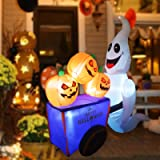 GOOSH Halloween Blow up Yard Decorations | Halloween Decorations Outdoor inflatables Ghost with Pumpkin Cart Yaed Decorations