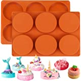 Palksky (2 Pack)6-Cavity Large Round Disc Silicone Mold/English Muffins Pan/Resin Coaster Mold Non-Stick Baking Molds for Ham
