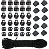 40pcs Plastic Cord Locks with 1/8-Inch 65ft Elastic Cord Stretch String for Drawstring, Shoelaces, Clothing, Backpack, Bags (