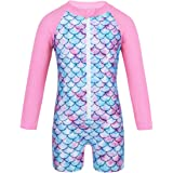 Doomiva Baby Girls One Piece Mermaid Swimsuit Long Sleeve Fish Scales Printed Zippered Swimwear Sun Protection Rashguard