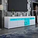180cm TV Cabinet Stand Wood Entertainment Unit 3 Door & Open Shelves High Gloss Front with RGB LED Light White