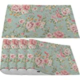 Moslion Pink Flower Placemats,Vintage Spring Romantic Bloom Floral and Leaf Green Place Mats for Dining Table/Kitchen Table,W