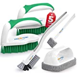 Holikme 5 pack Deep Cleaning Brush Set,clean brush,Scrub Brush&Grout and Corner brush&Scrub pads with Scraper Tip&Scouring pa