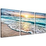 Beach Canvas Sunset Wall Art - Ocean Wave Wall Decor Sand White Beach 3 Piece Seascape Prints and Posters Modern Kitchen Bedr
