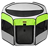 Akinerri Pet Playpen Portable Foldable Playpen for Dog/Cat/Puppy Exercise Kennel Dogs Cats Indoor/Outdoor Removable Mesh Shad