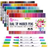 K&M 100 Dual Tips Art Markers- Watercolour Brush and Fineliner Pens-Water Based Felt Pens for Colouring, Drawing, Highlightin